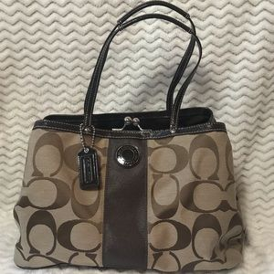 Coach brown signature stripe framed carryall bag